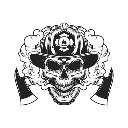 Ilustración de Firefighter skull and crossed axes in smoke cloud in vintage monochrome style isolated vector illustration - Imagen libre de derechos