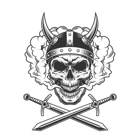 Ilustración de Viking skull in smoke cloud with crossed swords in vintage monochrome style isolated vector illustration - Imagen libre de derechos