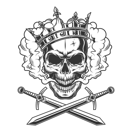 Illustration for Vintage prince skull in smoke cloud with crossed swords isolated vector illustration - Royalty Free Image