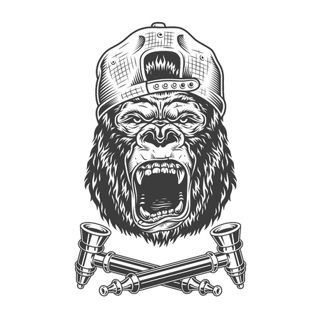 Illustration pour Angry gorilla head in hipster cap with crossed smoking pipes in vintage monochrome style isolated vector illustration - image libre de droit