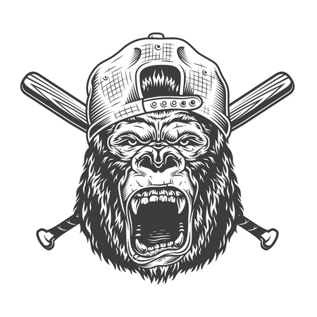 Illustration pour Vintage angry gorilla head in cap with crossed baseball bats in monochrome style isolated vector illustration - image libre de droit