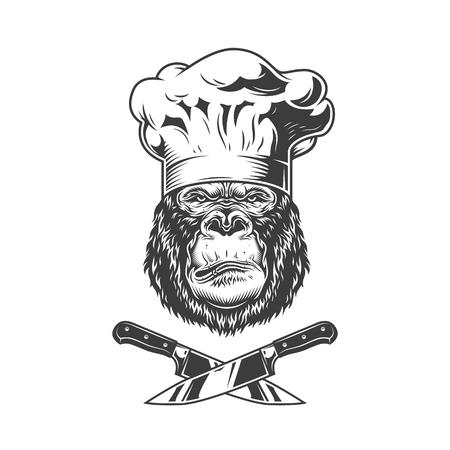 Ilustración de Serious gorilla head in chef hat with crossed knives in vintage style isolated vector illustration - Imagen libre de derechos