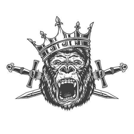 Ilustración de Ferocious gorilla king head in crown with crossed daggers in vintage monochrome style isolated vector illustration - Imagen libre de derechos