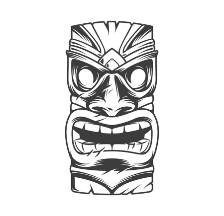 Illustration pour Hawaiian traditional tribal tiki mask in vintage monochrome style isolated vector illustration - image libre de droit