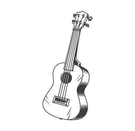 Illustration pour Hawaiian musical instrument ukulele concept in vintage monochrome style isolated vector illustration - image libre de droit