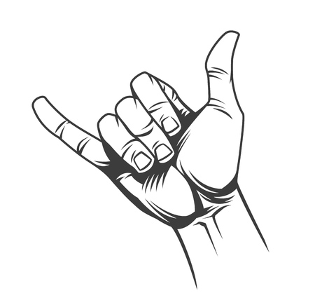 Illustration pour Surfer or shaka hand sign concept in vintage monochrome style isolated vector illustration - image libre de droit