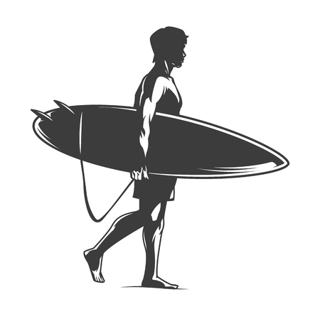 Illustration for Surfer holding surfboard in vintage monochrome style isolated vector illustration - Royalty Free Image
