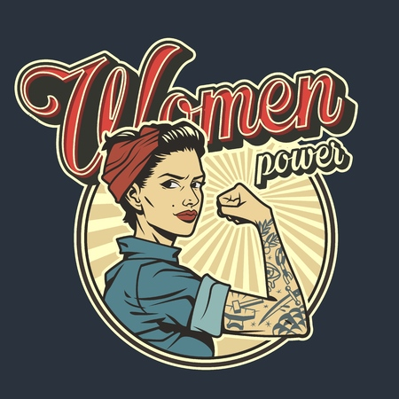 Ilustración de Vintage colorful woman power badge with beautiful strong girl in uniform with tattoo on arm isolated vector illustration - Imagen libre de derechos