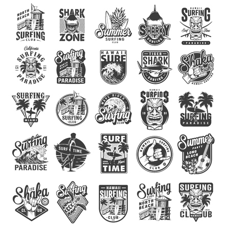 Illustrazione per Vintage surfing sport labels with man holding surfboards sharks surfers house palms sea waves fruits ukulele hibiscus flowers travel van shaka hand sign turtle isolated vector illustration - Immagini Royalty Free