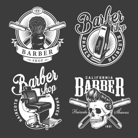Ilustración de Vintage barbershop logos with shaving brush barber chair electric hair clipper razors stylish hipster skull isolated vector illustration - Imagen libre de derechos