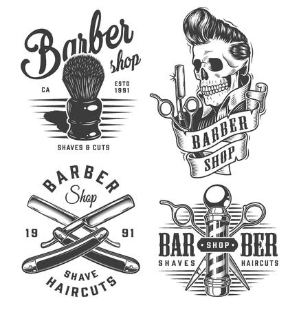 Ilustración de Vintage monochrome barbershop prints with shaving brush scissors barber pole razors skull with trendy hairstyle isolated vector illustration - Imagen libre de derechos