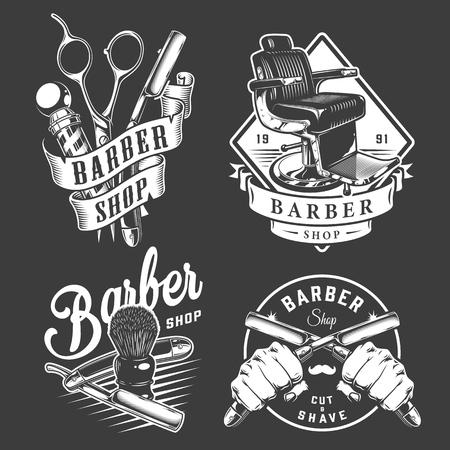 Ilustración de Vintage barbershop badges with barber accessories comfortable chair male hands holding razors isolated vector illustration - Imagen libre de derechos