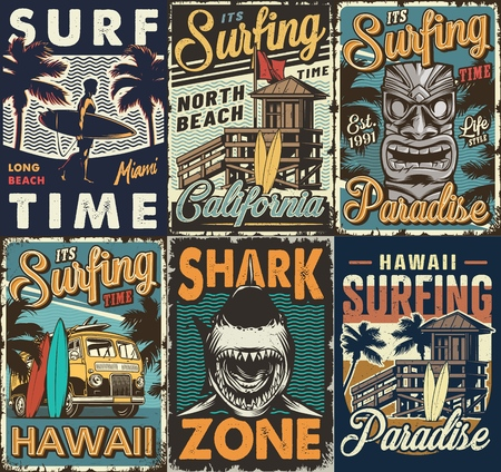Ilustración de Vintage colorful surfing posters set with surf bus tribal hawaiian tiki mask shark wooden house man holding surfboards vector illustration - Imagen libre de derechos
