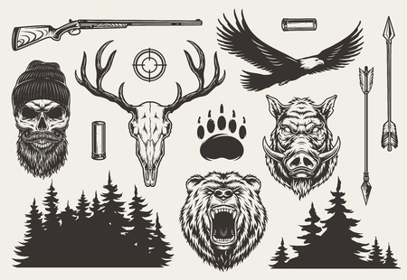 Ilustración de Vintage monochrome hunting elements set with hunter and deer skulls angry bear boar heads weapon gun aim animal track arrows eagle forest silhouette isolated vector illustration - Imagen libre de derechos