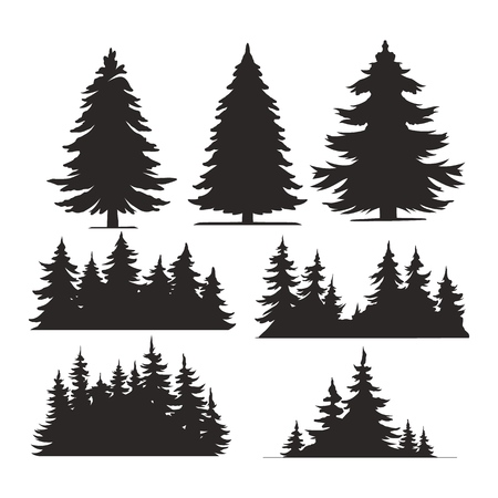 Illustration pour Vintage trees and forest silhouettes set in monochrome style isolated vector illustration - image libre de droit
