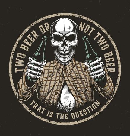 Ilustración de Vintage beer round colorful emblem with skull in checkered shirt holding two beer bottles isolated vector illustration - Imagen libre de derechos