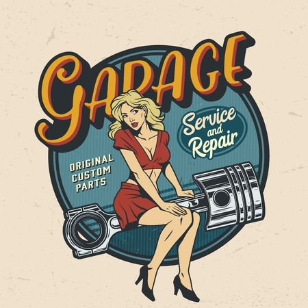 Illustrazione per Vintage colorful garage repair service   with pinup attractive woman sitting on engine piston isolated vector illustration - Immagini Royalty Free