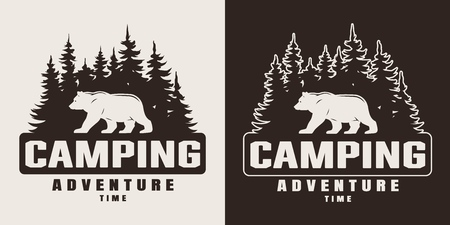 Illustration pour Vintage monochrome summer camping print with bear and forest silhouettes isolated vector illustration - image libre de droit
