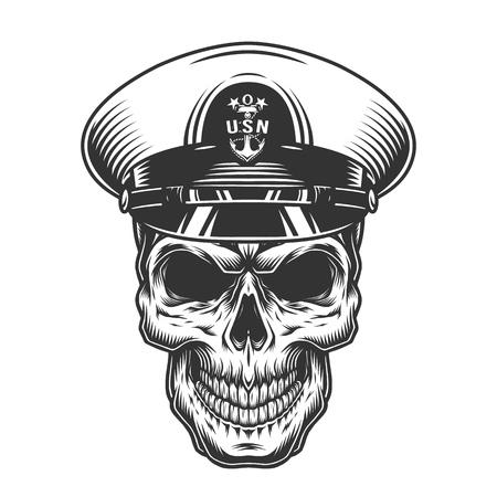 Ilustración de Vintage monochrome military concept with skull in navy officer hat isolated vector illustration - Imagen libre de derechos