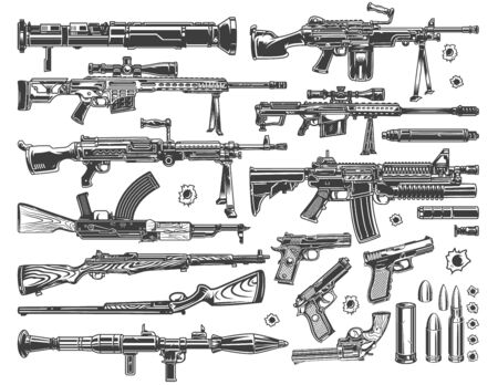 Illustration pour Vintage military elements set with grenade and rocket launchers sniper and automatic assault rifles pistols bullets and bullet holes isolated vector illustration - image libre de droit
