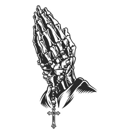 Illustration for Vintage skeleton praying hands concept with rosary in monochrome style isolated vector illustration - Royalty Free Image