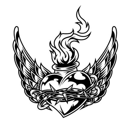 Illustration for Fiery heart shaped bottle in wire with eagle wings in vintage monochrome style isolated vector illustration - Royalty Free Image