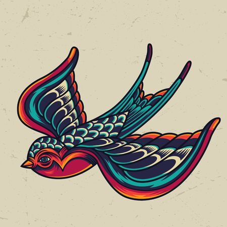 Illustration for Colorful flying swallow template in vintage style on light background isolated vector illustration - Royalty Free Image