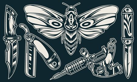 Illustration for Vintage elegant flash tattoos composition with butterfly knives straight razor professional tattoo machine in monochrome style isolated vector illustration - Royalty Free Image