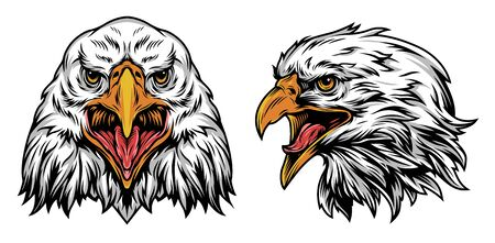 Illustration pour Vintage colorful eagle heads concept with front and side views on white background isolated vector illustration - image libre de droit
