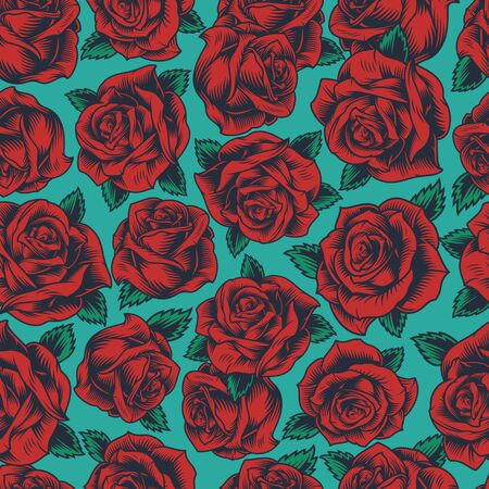 Illustration for Vintage floral colorful seamless pattern with beautiful red roses vector illustration - Royalty Free Image