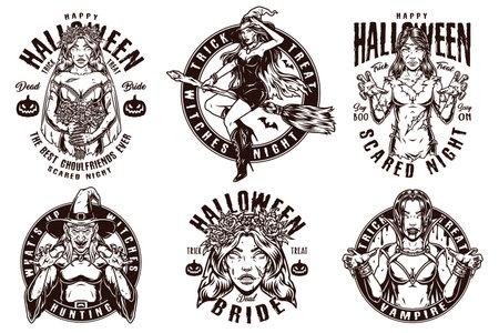 Happy Halloween monochrome labels