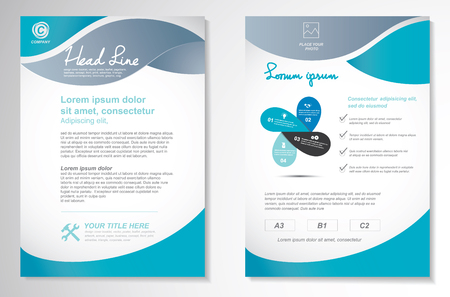 Illustrazione per Vector Brochure Flyer design Layout template, size A4, Front page and back page, infographics. Easy to use and edit. - Immagini Royalty Free