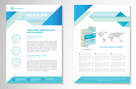Illustration pour Brochure design Layout template, size A4, Front page and back page, infographics. Easy to use and edit. - image libre de droit