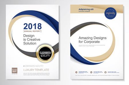 Ilustración de Template vector design for brochure, annual report, magazine, poster, corporate presentation, portfolio, flyer, layout luxury with blue and gold color size A4, front and back, easy to use and edit infinity concept. - Imagen libre de derechos