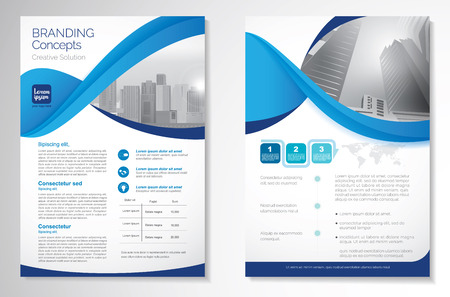 Ilustración de Template vector design for Brochure, Annual Report, Magazine, Poster, Corporate Presentation, Portfolio, Flyer, layout luxury with blue and blue color size A4, Front and back, Easy to use Infinity Concept - Imagen libre de derechos