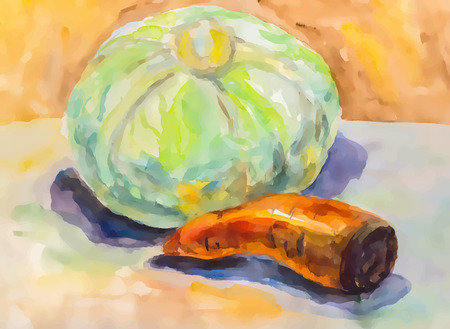 Vegetables watercolor on paper