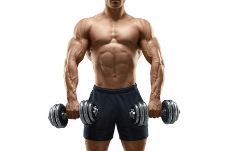 Foto de Handsome power athletic man bodybuilder doing exercises with dumbbell. Fitness muscular body isolated on white background. - Imagen libre de derechos