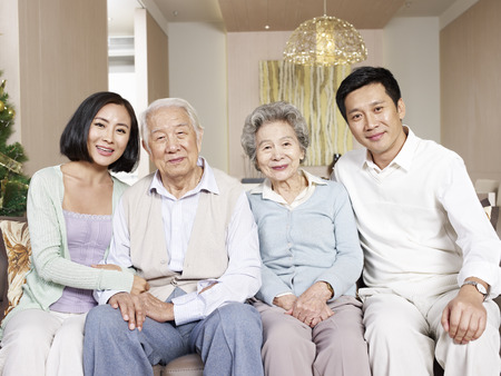 Photo for home portrait of a happy asian family - Royalty Free Image