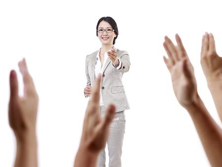 Photo pour female asian school teacher, isolated on white  - image libre de droit