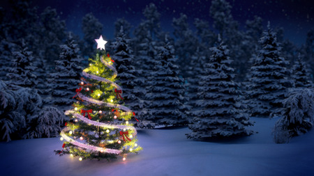Photo for shiny Christmas tree before snow covered trees at night - Royalty Free Image
