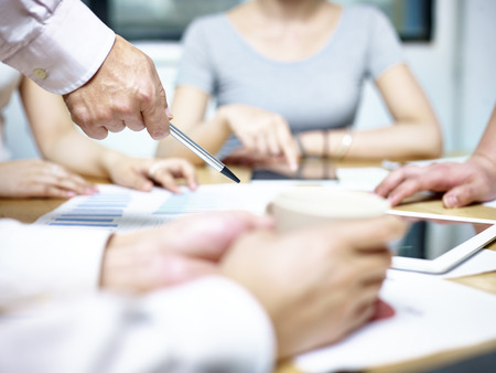 Photo for group of asian people meeting in office discussing business plan - Royalty Free Image