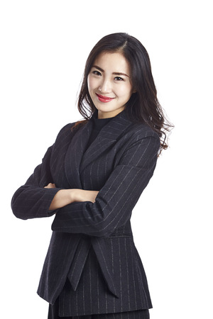 Photo for studio portrait of a young asian businesswoman in formal wear, arms crossed, isolated on white background. - Royalty Free Image