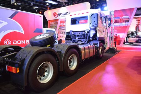 Foto de PASAY, PH - AUG. 17: Dongfeng tractor head truck on August 17, 2018 at Transport and Logistics in World Trade Center Metro Manila, Pasay, Philippines. - Imagen libre de derechos