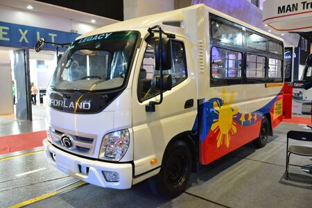 Foto de PASAY, PH - AUG. 17: Forland public utility vehicle on August 17, 2018 at Transport and Logistics in World Trade Center Metro Manila, Pasay, Philippines. - Imagen libre de derechos