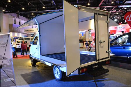 Foto de PASAY, PH - AUG. 17: Baic Freedom wing van at Transport and Logistics Philippines on August 17, 2019 in World Trade Center, Pasay, Philippines. - Imagen libre de derechos
