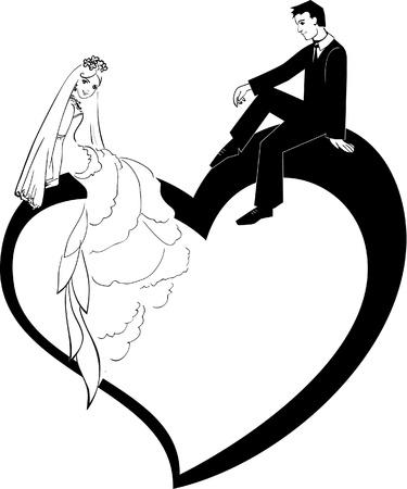 Photo pour Illustration of Wedding Couple - image libre de droit