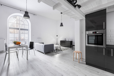 Photo for Modern apartment in industrial style with kitchen and open living room - Royalty Free Image