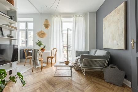 Foto de Cozy home in scandinavian style with tv living room - Imagen libre de derechos