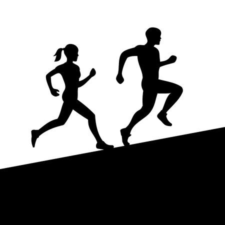 Ilustración de Runners, Man and Woman Running Silhouette  Vector illustration - Imagen libre de derechos