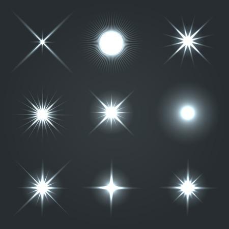 Ilustración de Light Glow Flare Stars Effect Set  Vector - Imagen libre de derechos